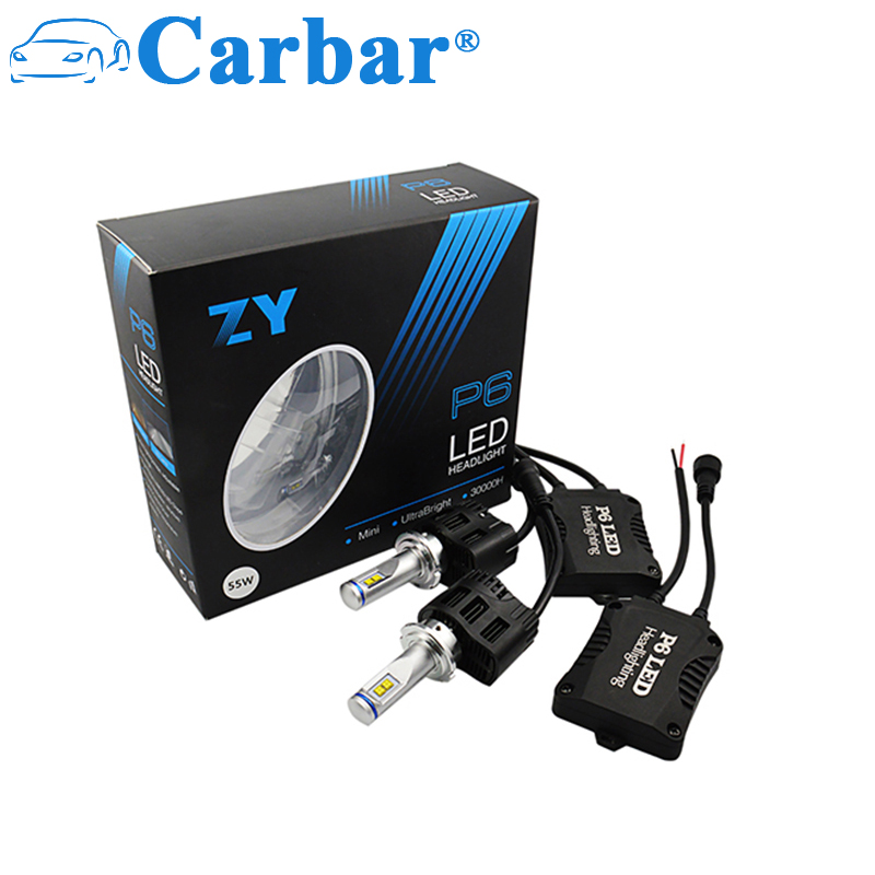 Carbar 2X P6 D1/D2/D3/D4 55 W 5200LM Araç Far Kiti Sis Lambaları 6 K 5 K 4 K LED Ampul All In One LED Far D1/D2/D3/D4 Evrensel