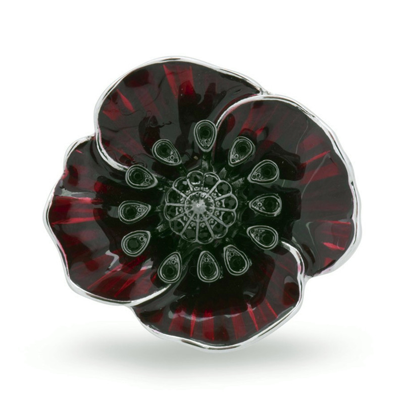 1.2 Inch Dark Red Enamel and Crystal Poppy Collection Deco Poppy Brooch Remembrance Day Gifts Nice Badges
