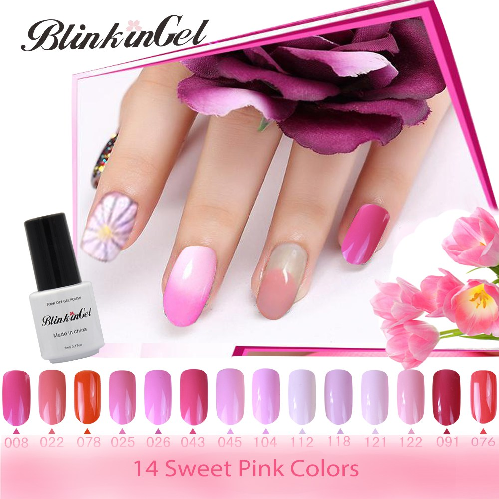 BlinkinGel 6ml Sweet Color Nail Polish UV Gel Pink Gellacke Nails Gel UV Colors French Manicure LED UV Gel Nail Polish 14 Colors