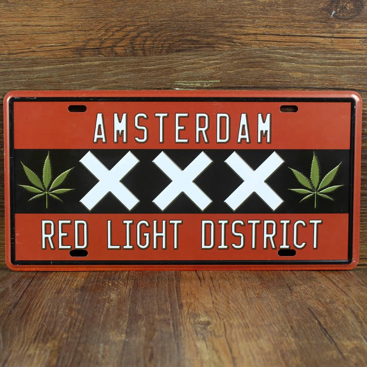 Plaka Amsterdam red light District garaj poster Ücretsiz gemi Metal işaretleri House Cafe Bar PUB duvar Art decor 15*30 CM
