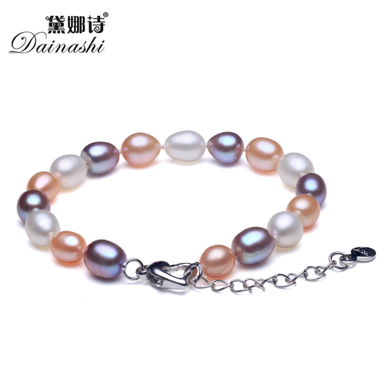 Elegant Mix Natural Freshwater Pearl Women Strand Beaded Bracelet Fashion Vintage Good Quality Silver 925 Jewelry 2017