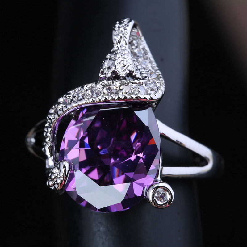 Simple Musical note Purple Cubic Zirconia White Gems 925 Sterling Silver Solitaire Women&39;s Jewelry Rings US Size 6 7 8 9 S1494