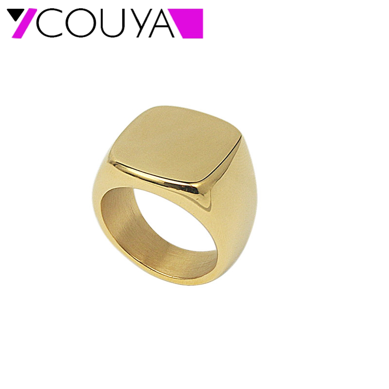 316L Stainless Steel Ring for Men Square Shiny Big Party Ring Jewelry for Women Men Gold or Silver Color Rings R10084