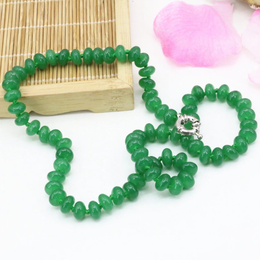 Green Natural stone chalcedony 5*8mm abacus jades beads chain necklace statement women clavicle choker jewelry 18inch B3209