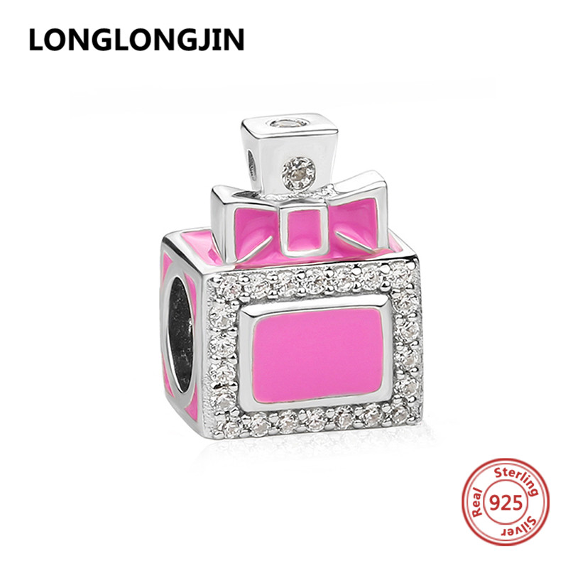 Fit Original Pandora Bracelet Silver 925 Beads classic perfume bottle Charms with CZ and enamel DIY fine jewelry for women gift